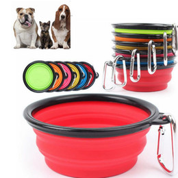 Wholesale Travel Dog Dishes - Silicone Folding dog bowl Expandable Cup Dish for Pet feeder Food Water Feeding Portable Travel Bowl portable bowl with Carabiner KKA2154
