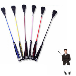 Wholesale Metal Whips - Riding Crop Rider Whips Schooling Horse Horsewhip with Loop Metal Plated Handle Black Flogger Equestrian Tools 67cm KKA2461