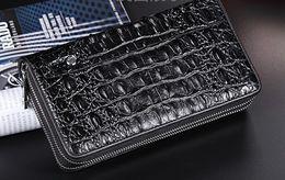 Wholesale Small Purse Double Zipper - Men clutch bags genuine crocodile leather men Long purses double zipper buisness Clutch bags 23*13*4.5cm large volume factory prices