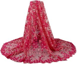 Wholesale Dress Handwork - Nigerian French Tulle Lace Fabrics with Handwork 3d Embroidery Flowers African French Net Lace for Lady Party Dress