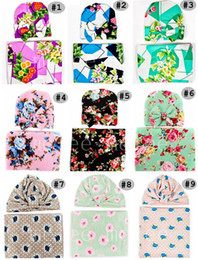 Wholesale Headband Small Girls - INS Infant Baby Swaddle Sack Baby Girl Rose Flower Blanket Newborn Baby Soft Cotton Cocoon Sleep Sack With Knot Headband Cap Hats Set