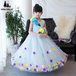 Wholesale Trailing Flowers - 2017 New Flower Girl Princess Trailing Dress Kid Party Pageant Birthday Wedding Bridesmaid dress