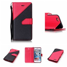 Wholesale Blue Contracts - For iphone 7 8 plus 6 6s 6 plus 6s plus 5 5s SE Folio Contract Color Wallet Leather Cellphone Case with TPU Soft Cover 100pcs lot