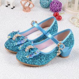 Wholesale Children Wedding Shoes Girls - Girl Shoes Children Princess Girls Wedding High Heels Party Shoes Sequined Shoes 3 Colors 5 Pairs l
