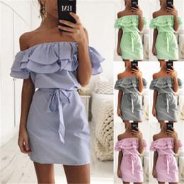 Wholesale Shirts Woman Strapless - Womens Summer Boho Mini Dress Ladies Strapless Casual Beach Party Shirt Dresses Casual Dresses Women Clothing Off Shoulder Dress With Belt