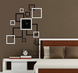 2019 квадратные часы Wholesale- 3D Wall Clocks Mirror Quartz Face Acrylic Combination Of Square Wall Sticker Clock Big Watch Home Decor Wall Clocks Livingroom дешево квадратные часы