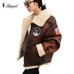 Wholesale Vintage Lamb Coat - Wholesale- Fleece Suede Leather Jacket Womens Winter Jackets and Coats Neutral Motorcycle Patchwork Women Warm Lamb Fur Coat Belt Collar