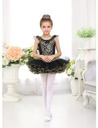 Wholesale Girls Dancing Wear - Ballet Tutu Dancing wear Girls High Quality Children's Ballet Dance Skirt Black Lace Swan Professional Dancing Ballet Tutu