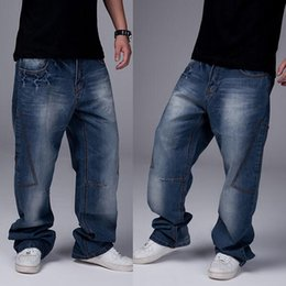 Wholesale Hip Hop Boys Jeans - Wholesale-2016 New Fashion Mens Boys Hip Hop Washed Loose Casual Jeans Pants Denim Skate Dance Trousers Size 30-46 Free Shipping