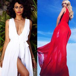 Wholesale Bohemia Maxi Long White Dress - Wholesale- Beach Dress Tunic 2017 Summer Swimwear Cover Ups Long Maxi Bohemia Wrap Dress Vestidos De Playa White Red Bathing Suit
