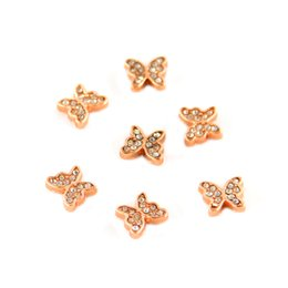 Wholesale Rose Gold Floating Locket Wholesale - 20pcs lot Rose Gold Crystal Butterfly Floating Charms for Glass Locket Charms MFC2346