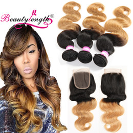 Wholesale Two Toned Lace Top Closure - Top quality Brazilian Virgin Hair Weaves Closure With 3 Bundles Two Tone Blonde Human Hair Weave 3pcs Ombre Body Wave With Lace Closure