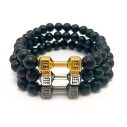 Wholesale Rope Stopper - Black Matte Beaded Bracelet Energy Stone Bracelet Dumb bell Bangle Charm Yoga Mala Bracelets With Stoppers