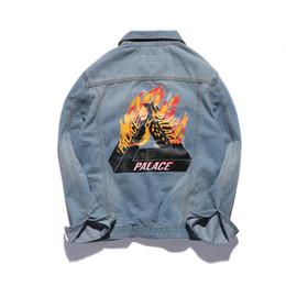 Wholesale London Clothing - Wholesale- Palace Jeans Jacket Men Women Brand Clothing Denim KANYE WEST Bomber Outwear Coats Flame Fire Palace Skateboards London Jackets
