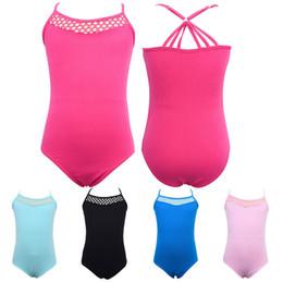 Дети девушки хлопок рукавов Холтер топы танец гимнастический купальник костюм балет танец боди 3 Цвет 5 Размер от