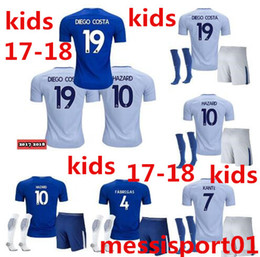 Wholesale Quality Boys - AAA+ quality 2017 2018 NEW kids KITS WITH SOCKS Chelsea soccer Jersey FABREGAS HAZARD DIEGO COSTA KANTE 17 18 child youth Football Shirt KIT