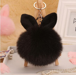 Wholesale Fur Movie - trinket Keychain pompons keychains cut fake fur Keychain pompom pumponchik Keychain fur llaveros pompom llaveros mujer