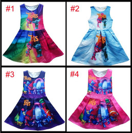 Wholesale Patchwork Dress Baby - New 4 colors baby girls Trolls Pleated dress cartoon Trolls printing Princess sleeveless dresses Kids Clothing