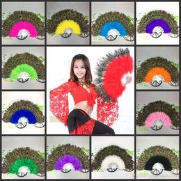 Wholesale Peacock Dance Dress - Elegant Peacock feather Hand Fan Dance Fancy Props Dress Wedding Costume Dance Folding Fan Halloween Phantom Party Supplies 13 color