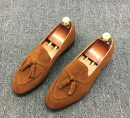 Wholesale Men Causal Style Shoes - 2017men luxury brand loafer male suede leather causal shoes celebrity style tassel moccasin gentlemen leather lining shoes,size38-45