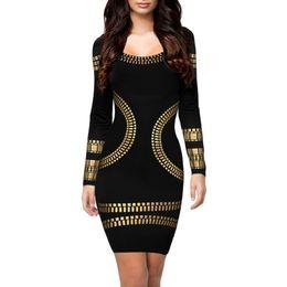2019 kim kardashian casual vestidos de bodycon Atacado-New kim kardashian vestido O-neck manga longa hot stamping vestido de escritório robe vestidos das mulheres sexy casual bodycon vestidos de festa kim kardashian casual vestidos de bodycon barato