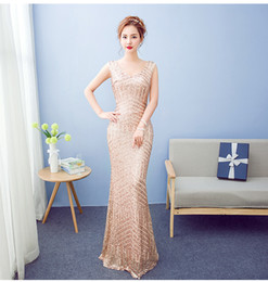 Wholesale Leather Jacket Size 12 - Gold Sequined Prom Dresses 2017 New Arrival Mermaid African Dresses Long Sparkly Sequins Champange Sexy Party Gowns Carpet Dresses
