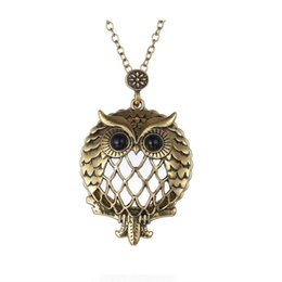 Wholesale Large Glass Lockets - New Design Owl Necklace Long Chain Large Glass Pendant Locket Necklace Statement and Big Fashion Owl Cute Look 16N0324