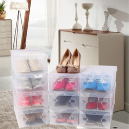 Wholesale Stackable Clear Storage Box - 28 x 18 x 10 cm Transparent Womens Stackable Crystal Clear Plastic Shoe Storage Boxes 11pcs  lot Free Shipping