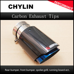 Wholesale Ak Stainless - Car Styling Glossy + Blue stainless steel AK Akrapovic Muffler End Pipe exhaust pipe muffler For Universal Carbon Exhaust Tips