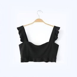 Wholesale Crop Tanks For Women - Hot Sale Solid Sexy Short Crop Top for Women 2017 Summer Ruffles Camisole Lace White Vest Midriff-baring Top Slim Female Tank Top