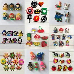 Wholesale Mario Shoes - 100pcs lot Moana Avengers Mario Mickey Heroes Cartoon PVC Shoe Charms Accessories Fit Wristband Bracelets Kid Gift Party Favor Accessories