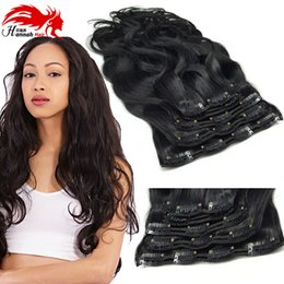 Wholesale Indian Hair 8pcs - Clip In Human Hair Extensions Brazilian Human Hair Clips 8PCS 100g Brazilian Body Wave Human Hair Clip in Extension