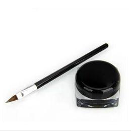 Sombra de olho preto on-line-Nova À Prova D 'Água Lápis de Olho Lápis Make Up preto Líquido Delineador Sombra Gel Maquiagem + Escova de maquiagem Preta