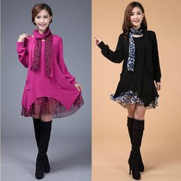 Wholesale Thin Sleeve For Dresses - Wholesale- 2016 New Winter Scarf Knitted Long Warm Sweater Dress for Women Leopard Knitwear Casual Big Plus Size Woman Pullover tricotado