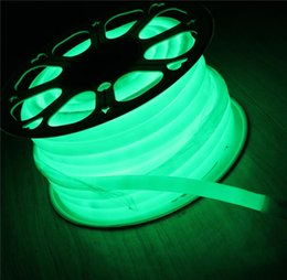 Wholesale Rope Spools - 50m Spool mini 16mm 360 degree flexible neon led soft tube rope 2835 SMD green emitting multi voltage for decoration