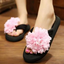 Wholesale Beach Flip Flops For Girls - Wholesale-{D&H}DIY Handmade Flower Summer Woman Sandals Shoes For Women Flats Flip Flops Wedges Sandal Girl Sandy Beach Shoes Woman ZDH013