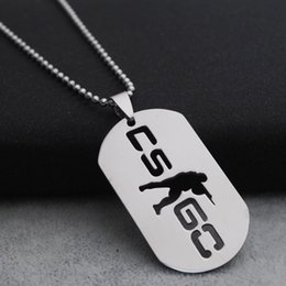 Wholesale Game Counters - CSGO Counter Strike Stainless Steel Dog Tags Necklace Silver Anime Game Military ID Pendant Necklace Jewelry Gift For Men