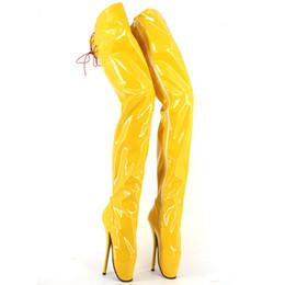 2017 Amarelo Coxa De Couro De Patente De Alta Botas Mulheres Sapatos de Bailado Botas Para As Mulheres Sapato Masculino Sexy Fetiche Botas Tamanho 36-46 Plus Size de Fornecedores de zip up botas amarelas coxa