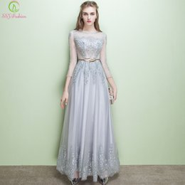 Wholesale Transparent Backless Sequin Dress - 2017 Elegant Beading Lace Evening Dress Silver Gray Sequined Transparent 3 4 Sleeves Evening Gowns Tulle Lace Prom Party Formal Dresses