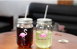 Wholesale Glass Bottles For Lid - 2017 Creative Flamingo drinking glass Bottle cup transparent simple for student with lid Cup Portable Sealed water coffee mugs wholesale