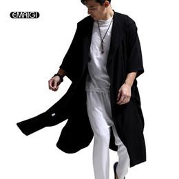 Wholesale Hooded Cloak Trench - Wholesale- White Blue Black High Quality Cotton Linen Men Women Trench Coat Male Hooded Cloak Long Windbreaker Cardigan Trench Jacket