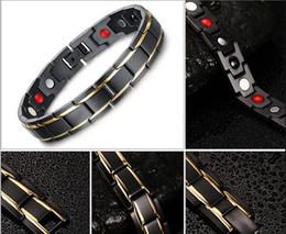 Wholesale Bracelet Germanium Dhl - Energy Bracelet Bangle Men Titanium Steel Bio Magnetic Germanium Therapy Radiation Fatigue Health Bracelets Black&Gold by DHL