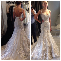 Wholesale Beaded Spaghetti Strap Wedding Dresses - 2017 Spaghetti Strap Lace Steven Khalil Wedding Dresses Mermaid Sexy Beaded Appliques Backless Court Train Bridal Gowns Custom Free