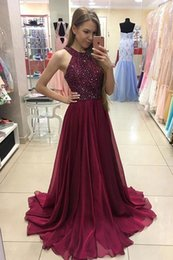 Wholesale Yellow Prom Dres - Real Photos 2017 Modern Sparkle Prom Dresses A Line Halter Backless Sleeveless Sweep Train Beaded Burgundy Art Deco-inspired Neck Party Dres