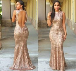 Wholesale New Arrivals Runway - 2017 New Arrivals Chic Mermaid Sequined Evening Dresses Sexy Keyhole Backless Floor Length Evening Prom Gowns Plus Size