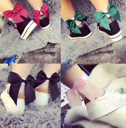 Wholesale New Fishing Net - Free shipping Hot Sale Fashion New Women Middle hole Fishnet Ankle High Socks Bow Tie Mesh Lace Fish Net Short Socks
