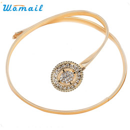 Wholesale Slim Rhinestone Belt - Wholesale- Womail Newly Design Women Lady Fashion Rhinestone Buckle Metal Rope Slim Waist Belt Strap 160722 Drop Shipping