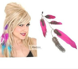 Wholesale Synthetic Feather Extensions - Wholesale- 1pc Beauty Feather Clip in hair extensions mix 3 color quick wear pieces synthetic hair extension straight Free Shipping