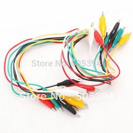 Wholesale Test Lead Jumper - Wholesale-10pcs pack Double-ended Test Leads Alligator Crocodile Roach Clip Jumper Wire