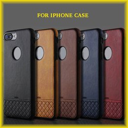 Wholesale Red Weave Wholesale - Business Leather Stitching Woven Pattern For iPhone 8 7 6s All-inclusive Protective Case Anti-drop Soft Case with Retail Bag DHL Free Shipp